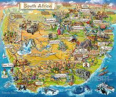 Illustrated Map of tourist attractions in South Africa