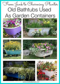 Add some whimsy to your cottage garden! Using an old bathtub as a charming container in your garden. Lots of great ideas!