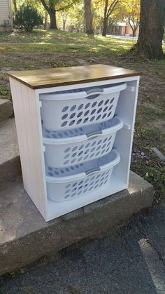 Laundry Basket Holder, Laundry Basket Organization, Laundry Room Organization, Laundry Room Design, Laundry Sorter, Laundry Decor, Laundry Basket Storage, Laundry Basket Dresser, Laundry Rooms