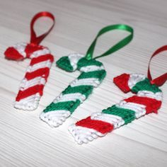 Candy Cane Ornament Plastic Canvas Needlepoint by MousetailsStudio