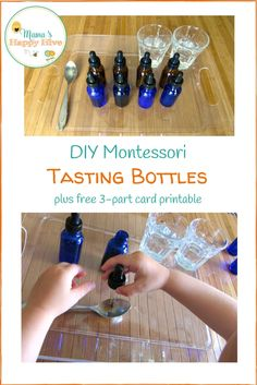 This DIY Montessori tasting bottles tutorial and activities are fun for exploring the gustatory sense. Also, 3-part card and cut & paste printables.