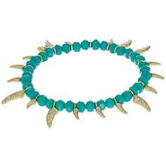 Rebecca Minkoff Tiki Beaded Spike Bracelet (Turquoise Faceted Shiny... ($61) ❤ liked on Polyvore featuring jewelry, bracelets, beaded jewelry, gold tone jewelry, spikes jewelry, yellow gold jewelry and spike bangle