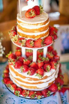 strawberry shortcake wedding cake -- naked wedding cake ...I usually hate the whole naked wedding cake fad, but I do love strawberry shortcake and this looks nice