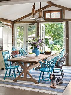 Dining table color.  Eclectic chairs.