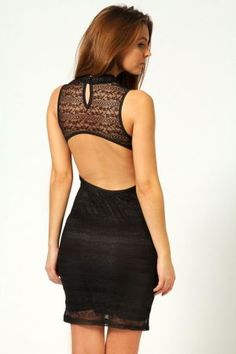 Lizzy High Neck Cut Out Back Bodycon Dress