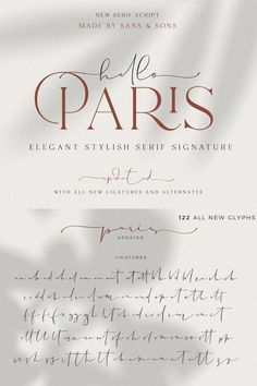 "Hello Paris - Modern Variable Paired Duo --- say hello for our first debut "" Hello Paris "" with Modern Elegant Style this is perfect for branding, logos, Calligraphy Fonts Alphabet, Handwriting Fonts, Typography Fonts, Font Alphabet, Serif Font, French Font, Text Symbols, Modern Script Font, Signature Fonts"