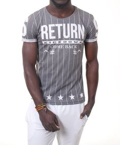 NEW Striped T-Shirt Stars RETURN Printed Street Fashion Cotton Slim Fit Top 1114 #KDWN #BasicTee