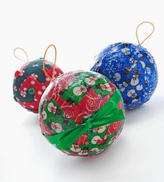 Christmas Craft for Kids: Mod Podge Christmas Ornaments for Kids - alternative suggestions: Styrofoam balls or even rubber toy balls from the toy department: might need to insert hanger in the balls.