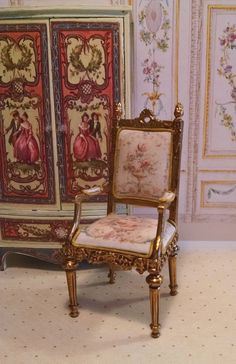 Louis XV Armchair Miniature Dollhouse Furniture by FrenchVellum