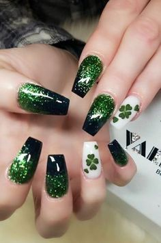 43 Outstanding Spring Nail Art Design You Can Try - Spring Nails Nail Art Designs, Green Nail Designs, Marble Nail Designs, Irish Nail Designs, Nails Design, Easter Nail Designs, Spring Nail Art, Spring Nails, St Patricks Nail Designs