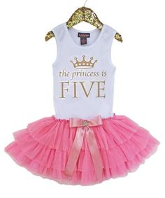 "Is your princess turning FOUR...FIVE, or SIX, etc?""The princess is SIX"" design is made from beautiful gold glitter.  This couture party dress has a soft, cotton"