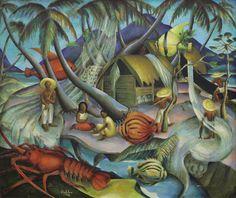 Alexis Preller (South African, 'The Fishermen of Beau Vallon', 1949 South African Artists, Art Sites, Tribal Art, Marine Life, Landscape Art, Artsy Fartsy, Illustration Art, Auction, Fine Art