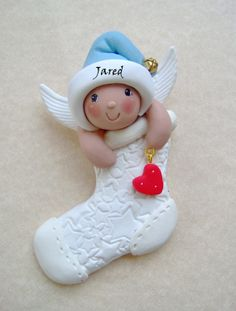Babys First Christmas Angel Ornament via Etsy