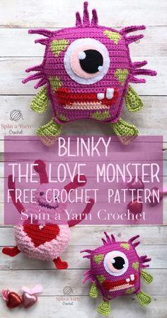 Crochet Amigurumi Ideas Free Crochet Pattern from Spin a Yarn Crochet - Hi, friends! They're voraciously lovable *and* loving! And since Valentine's Day is just around… Crochet Patterns Amigurumi, Crochet Dolls, Crochet Yarn, Kawaii Crochet, Cute Crochet, Crochet Pokemon, Crochet Monsters, Crochet Animals, Crochet Pillow