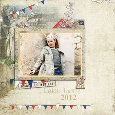 Chateau Thierry by Lynn Grieveson using Battered backgrounds Belle Francaise elements Blendy Brushes and Masks Bergen Kit (wooden house)