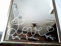 """incisioni su vetro di Paola Brunetti: Specchio """"Love"""""""