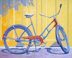 A Happy girls red and blue bike bicycle painting. Nice art