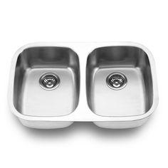 Yosemite Home Decor MAG505 18-Gauge Stainless Steel Undermount Double Bowl Kitchen Sink, Satin