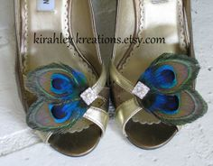 ATREYA Shoe Clips  Natural Peacock Feathers by KirahleyKreations, $34.00