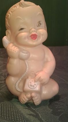 1958 Baby Toy Co. Winking Baby On The Telephone/Squeaky Toy/Made In Germany #EdenToys