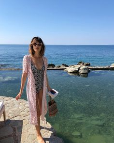 @jeannedamas is wearing the white GABIN dress in the south of France 🌊💙 #lesfillesenrouje