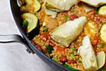 Vegan Gluten-free Quinoa Vegetable Paella: ingredients include quinoa, saffron, garlic, zucchini, red kidney beans - easy and delicious!