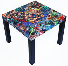 Table for Tristan's room at https://www.etsy.com/listing/255326203/justice-league-comic-collage-table