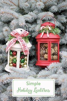 Use store-bought lanterns and add your own personal touch. Ikea Christmas Gifts, Christmas Diy, Christmas Lanterns Diy, Diy Crafts For Kids, Christmas Crafts, Christmas Ornaments, Kids Diy, Christmas Centerpieces, Xmas Decorations