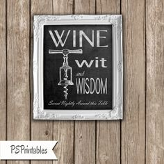 wine lovers wit and wisdom chalked art poster for by PSPrintables, $5.00