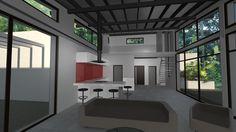 Maison contemporaine en ossature bois c t de toulouse for Charpente apparente salon