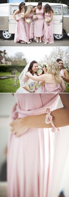 Rustic Wedding At Hyde Barn In Stow On The Wold With A Pale Pink Colour Scheme And Bride In Samantha By Sassi Holford With Bridesmaids In Pale Pink Twobirds Dresses With Groom In Navy Reiss Suit 3