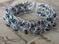 Chainmaille Bracelet Gunmetal and Silver  Rondo    #chainmaille #cuff #jewelry