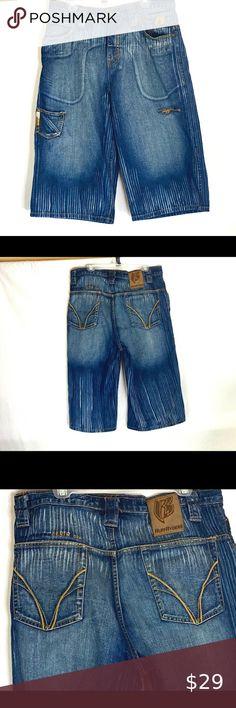 Brand New Raw Blue Mens Size 36 Fashion Denim Shorts Embroidered Jeans Jorts