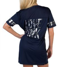 NFL Dallas Cowboys PINK Jersey Dress - Navy with Sequins (back) - Shop now at shop.dallascowboys.com
