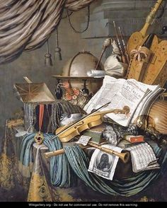 A vanitas still life of a globe, a casket of jewels and medallions, books, a hurdy-gurdy, a bagpipe, a lute, a violin, a silver tazza, a roemer - Edwaert Collier