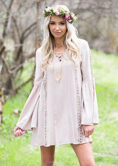 Crochet Dress, Short Dress, lace dress, long sleeve, Criss Cross, Crochet, Taupe, Bell sleeve dress, Cute, Fashion, Online Boutique - Modern Vintage Boutique