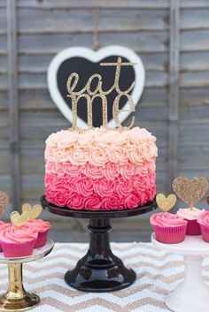 Gorgeous ombre rose cake at a Valentine's Day party! See more party planning ideas at CatchMyParty.com!:
