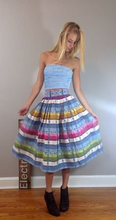 70s Striped Hippie Skirt Boho Skirt Gypsy Skirt by ElectricBright
