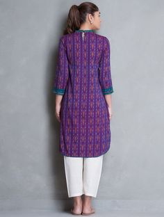 Buy Purple Teal Asymmetrical Button Down Ikat Cotton Kurta Women Kurtas The Sparrow's Song Contemporary apparel in weaves Online at Jaypore.com