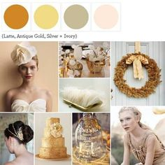 A Palette of Latte, Antique Gold, Silver + Ivory http://www.theperfectpalette.com/2011/10/glitz-glam-palette-of-latte-antique.html