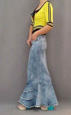 Aliexpress.com: Compre Calças Jeans vestido saia longa para as mulheres magro Patchwork Tassel sereia saia de cintura alta de confiança skirt ladies fornecedores em Popular Fashion Trend Store