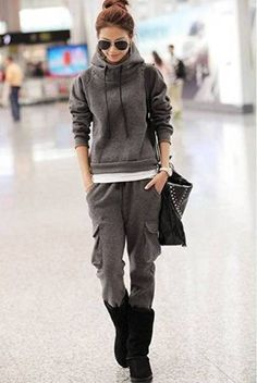 My kind of Korean Fashion Stylish Female Thicken Tracksuit airport fashion Asian Fashion, Look Fashion, Winter Fashion, Fashion Clothes, Looks Street Style, Looks Style, Mode Outfits, Casual Outfits, Sport Fashion