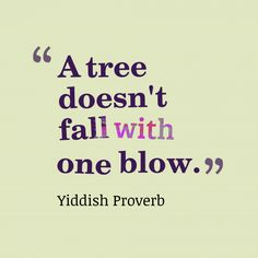 A tree doesn't fall with one blow. ~Yiddish Proverb