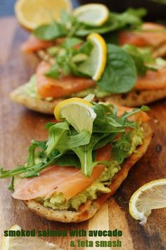 Smoked salmon bruschetta with smashed avocado & feta - the simplest luxurious little lunch! Avocado Recipes, Salmon Recipes, Fish Recipes, Seafood Recipes, Appetizer Recipes, Cooking Recipes, Brunch, Feta, Healthy Snacks