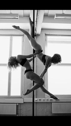 Pole duo pose. My best friend and I are totally going to do this.