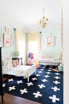 baby & toddler shared bedroom - via lay baby lay House Of Turquoise, Turquoise Walls, Turquoise Nursery, Deco Kids, Shared Bedrooms, Shared Kids Rooms, Kid Bedrooms, Nursery Neutral, Neutral Nurseries