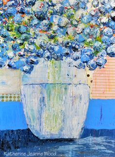 Large Acrylic Still Life Floral Painting - Cottage Chic - Blue Roses - Fine Art - Bouquet Flowers - 172