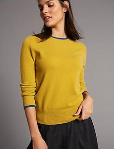 Cosy up in our women's knitwear. From jumpers to cardigans and gilets in woollen and cashmere fabrics, browse the complete collection at M&S Cashmere Fabric, Bold Prints, Cute Tops, Knitwear, Jumper, Contrast, Tunic Tops, Pullover, Pure Products