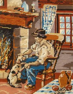 vintage needlepoint tapestry retirement gift man with dog by the fireplace french tapestry