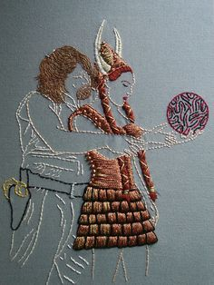 The Dude and Maude--I can't watch the movie without thinking about this awesome stitchy piece.